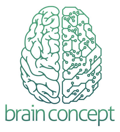 Ilustración de An abstract illustration of a brain half electrical circuit board concept design - Imagen libre de derechos