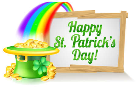 Ilustración de A St Patricks Day sign Happy reading St Patricks Day with a Leprechaun hat with shamrock four leaf clover and full of gold coins at the end of the rainbow - Imagen libre de derechos