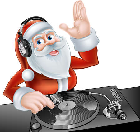 Illustration pour An illustration of cute cartoon Santa Claus DJ at the decks with headphones on - image libre de droit