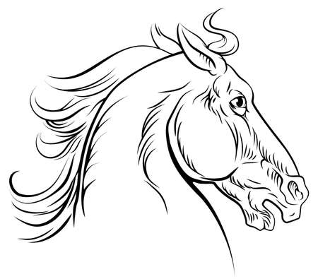 Ilustración de An original illustration of a horse head in a vintage woodcut woodblock style - Imagen libre de derechos
