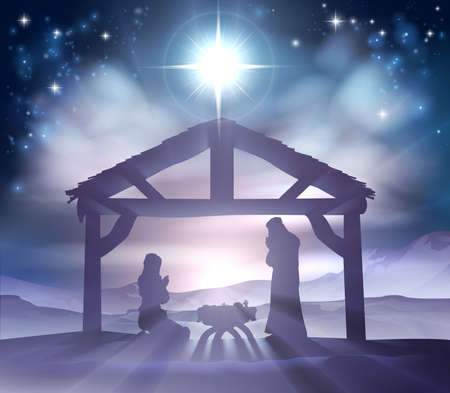 Illustration pour Traditional Christian Christmas Nativity Scene of baby Jesus in the manger with Mary and Joseph in silhouette - image libre de droit