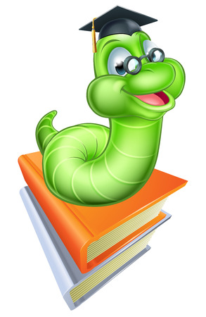 Illustration for Happy cartoon caterpillar worm bookworm mascot wearing glasses and graduation hat on a stack of books - Royalty Free Image