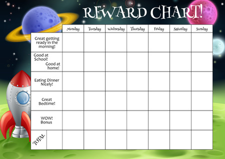Illustration for A childs reward or chore chart with spaces for stickers or stars - Royalty Free Image