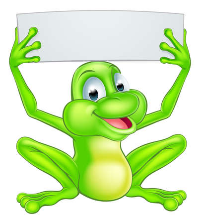 Illustration for An illustration of a cute cartoon frog mascot character holding up a sign - Royalty Free Image