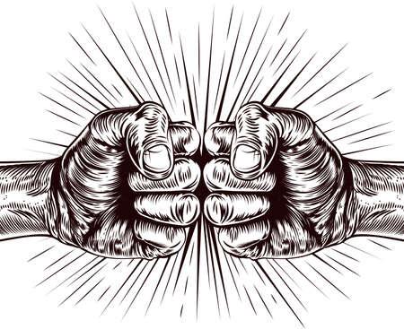 Ilustración de An original illustration of fists punching in a vintage wood cut style - Imagen libre de derechos