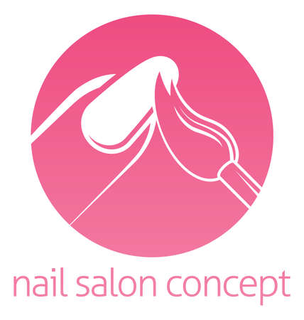 Nail technician, nail bar or salon manicurist concept of a nail being painted with a brush