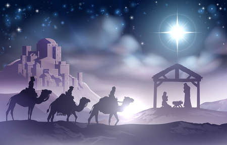 Illustration pour Traditional Christian Christmas Nativity Scene of baby Jesus in the manger with Mary and Joseph in silhouette with wise men - image libre de droit