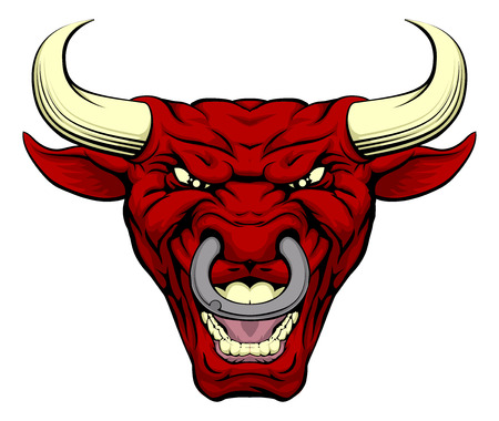 Illustrazione per An illustration of a cartoon tough red bull character face - Immagini Royalty Free