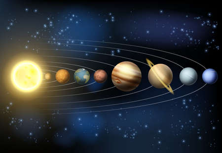 Illustration pour An illustration of the planets of our solar system orbiting the sun in outer space. - image libre de droit