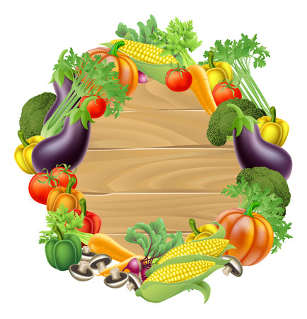 Photo for A wooden sign background surrounded by a circle border of fresh fruit and vegetables food produce - Royalty Free Image