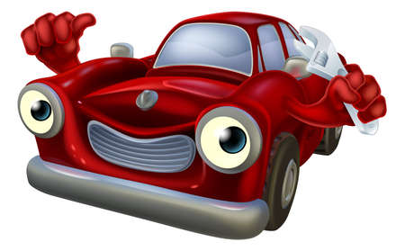 Illustrazione per Cartoon car character holding a spanner and giving a thumbs up, auto repair garage mechanic - Immagini Royalty Free