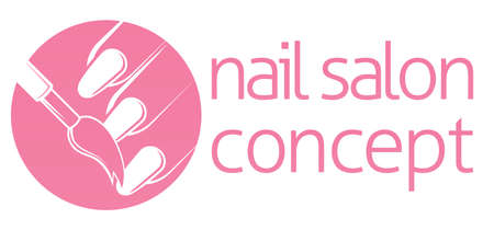 Nail bar, nail technician or salon manicurist concept of a nail being painted with a brush
