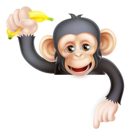 Illustration for Cartoon chimp monkey like character mascot peeking above a sign holding a banana and pointing down  - Royalty Free Image