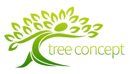Ilustración de Tree person icon, a tree in the shape of a person with leaves, lends itself to being used with text - Imagen libre de derechos