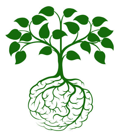 Foto de A tree growing from rooots shaped like a human brain - Imagen libre de derechos
