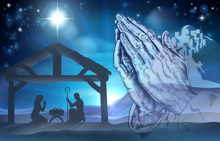 Illustration pour Nativity Christian Christmas scene of baby Jesus in the manger with Mary and Joseph and praying hands - image libre de droit