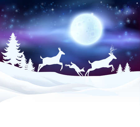 Illustration for A winter Christmas scene featuring a deer family running in the snow in front of a big full moon in snow with Christmas trees - Royalty Free Image