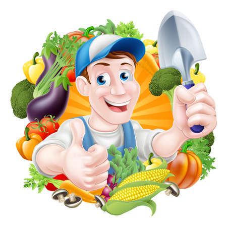 Illustration for Vegetable gardener cartoon character in a cap and blue dungarees holding a garden hand spade trowel tool and giving a thumbs up surrounded by vegetables - Royalty Free Image