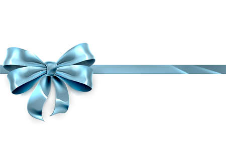 Illustration pour A beautiful blue ribbon and bow from a Christmas, birthday or other gift - image libre de droit