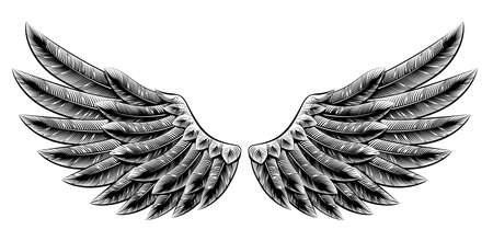 Illustration for Original illustration of vintage woodcut style eagle bird or angel wings - Royalty Free Image