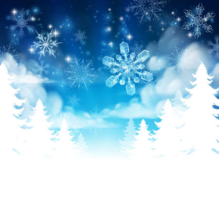 Illustration pour Winter Christmas trees snow background with clouds and stars. Fades to white at the bottom for easy use as border design or header. - image libre de droit