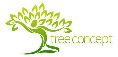 Ilustración de Conceptual design element of a tree in the shape of a dancing figure or person with arms outstretched - Imagen libre de derechos
