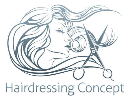 Illustration pour An illustration of a beautiful woman having her hair cut by hairdresser scissors. - image libre de droit