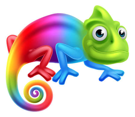Illustration for A cute cartoon rainbow coloured multicoloured chameleon lizard character - Royalty Free Image