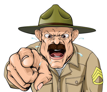 Illustration pour An illustration of a cartoon angry boot camp drill sergeant character - image libre de droit