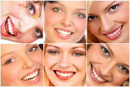 Happy woman smiles