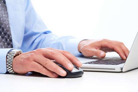 Foto de Hands of businessman with laptop. Technology and internet. - Imagen libre de derechos