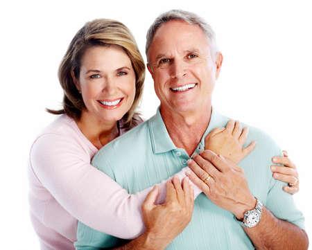 Photo pour Senior couple portrait. Isolated on white background. - image libre de droit