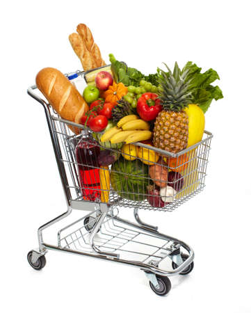 Full shopping grocery cart. Isolated on white background.
