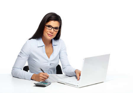 Photo pour Beautiful business woman working with document in office. - image libre de droit