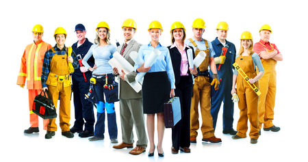 Foto de Construction workers group. Isolated over white background. - Imagen libre de derechos