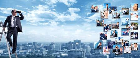 Foto de Business people banner collage background design  Success - Imagen libre de derechos