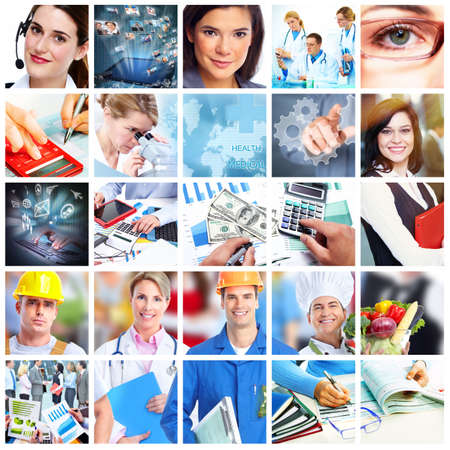Foto de Business people collage  Accounting and technology background  - Imagen libre de derechos
