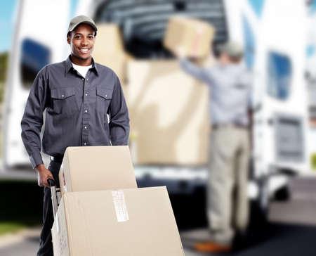 Photo pour African-American postman. - image libre de droit