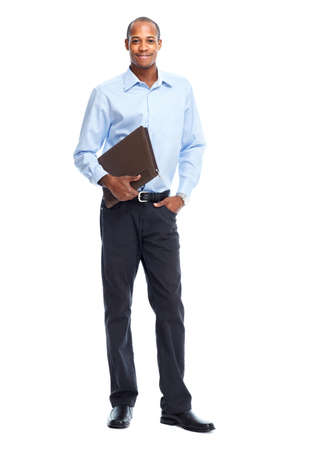 Photo pour African American Businessman isolated white background. Student - image libre de droit