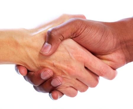 Foto de Handshake. Hands of businessman isolated on white background - Imagen libre de derechos