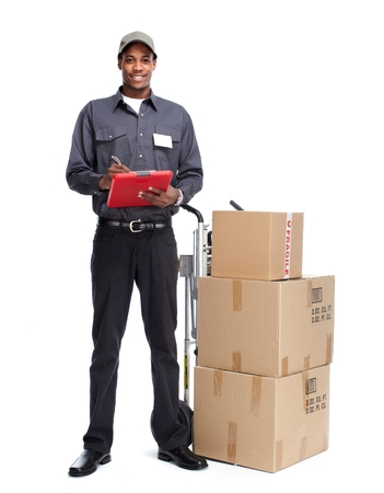 Photo for African-American postman isolated on white background - Royalty Free Image