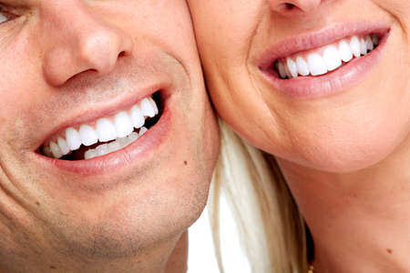 Photo pour Beautiful woman and man smile. Dental health background. - image libre de droit