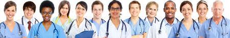 Foto de Group of medical doctors. Health care banner background - Imagen libre de derechos