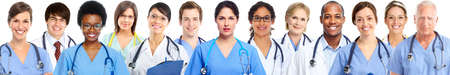Foto de Group of medical doctors. Health care banner background - Imagen libre de derechos