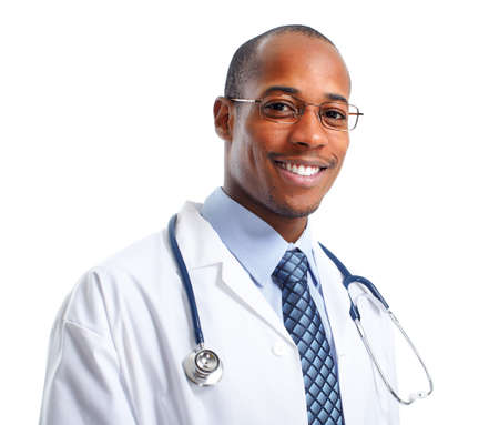 Photo pour African-American Medical doctor man isolated white background - image libre de droit