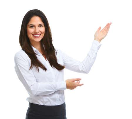 Foto de Young business woman presenting copy space. - Imagen libre de derechos