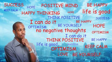 Photo pour Positive thinking black man - image libre de droit