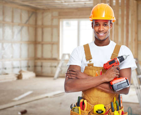 Photo pour Construction worker in  new house. - image libre de droit