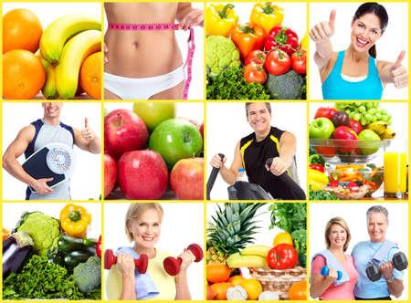 Photo pour Weight loss and diet collage. - image libre de droit