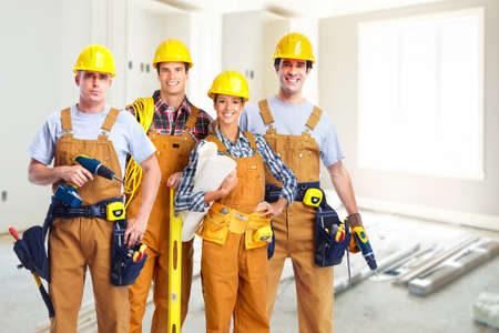 Photo pour Group of construction workers. - image libre de droit